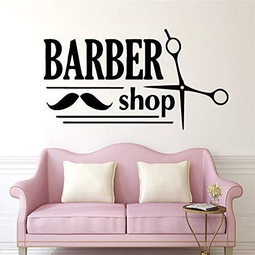 TYLPK Neue Friseursalon Wandaufkleber Barber Shop Wandtattoo selbstklebende Vinyl Wasserdichte Wandkunst Wandbild Zimmer Dekorative Tapete Gold L 43 cm X 78 cm