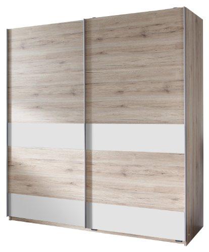 Wimex 050770 Schwebetürenschrank 135 x 198 x 64 cm, San Remo Eiche Nachbildung, Absetzungen alpinweiß