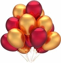 HKBalloons HK0216 Metallic Red & Golden Balloon (Red, Gold, Pack of 50)