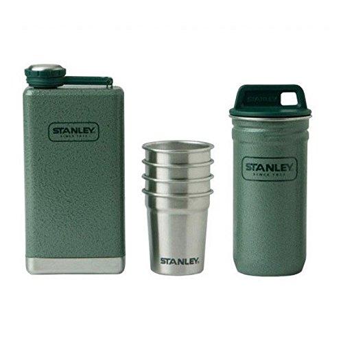 Stanley Set aus großem Flachmann 0.23 L und 4 Edelstahl-Schnapsbechern mit Behälter, hammertone green