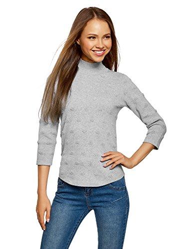 oodji Ultra Damen Strukturierter Pullover mit 3/4-Arm, Grau, DE 40 / EU 42 / L (Pullover Baumwolle Strukturierte)