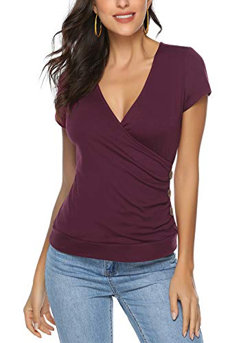 Ehpow Damen T-Shirt Sommer V-Ausschnitt Kurzarm Shirts Oberteile Cross Wrap T-Shirt Tops (XX-Large, Wein) - Kurzarm-wrap