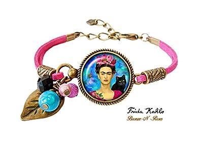 Bracelet .Frida.Kahlo. et le chat artiste peintre bronze-n-roses cadeau