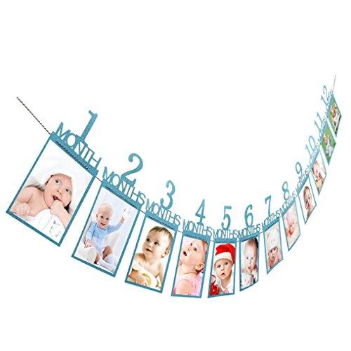 Neugeborenes bis 12 Monate Baby-Monatsfoto-Wand für 1. erste Geburtstags-Party-Dekoration, Foto-Fahnen-Baby-Wachstums-Rekord-Girlande 1-12 Mund-Foto-Seil-Fahne (Blue #2)