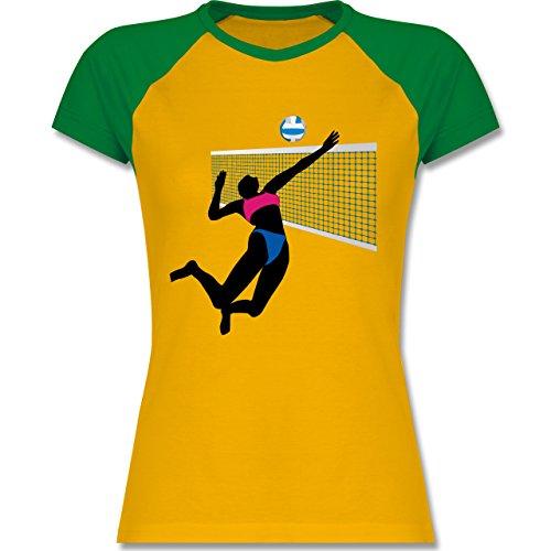 Shirtracer Volleyball - Beachvolleyballspielerin Netz Ball - Zweifarbiges Baseballshirt/Raglan T-Shirt für Damen Gelb/Grün