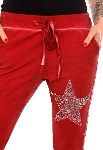 Easy Young Fashion Damen Vintage Sweathose Pailletten Stern Dunkelrot