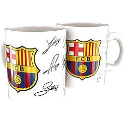 Taza FC Barcelona firmas blanca ceramica