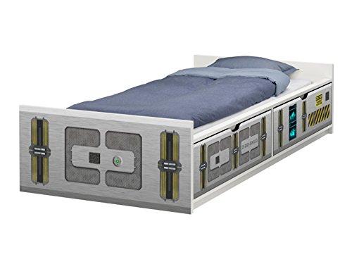 STIKKIPIX Raumschiff Möbelfolie | passend zum IKEA Kinderbett FLAXA | passgenaue Klebe-Folie für Schubkästen und Stirnseite | FLX11 | Möbel Nicht Inklusive