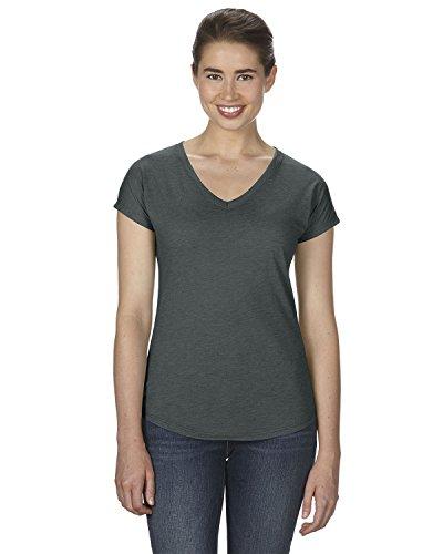Anvil Womens Triblend V-Neck T-Shirt (6750VL) -Heather DK -L -