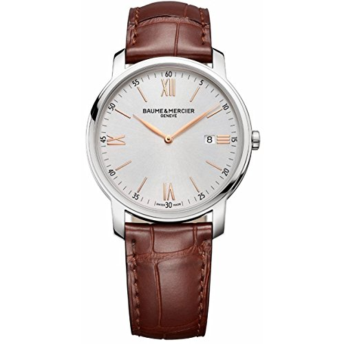 Baume and Mercier Classima Silver Dial Brown Leather Ladies Watch