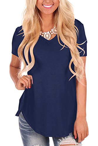 Dasbayla Women's Loose Short Sleeve T-Shirt Casual V Neck Tops High Low Design