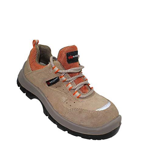 Modyf Scarpe Julia S1P SRC Sicurezza Lavoro Scarpe Scarpe Professionali Pattini di Affari Scarpe da Trekking Piatta Braun, Dimensione:35 EU