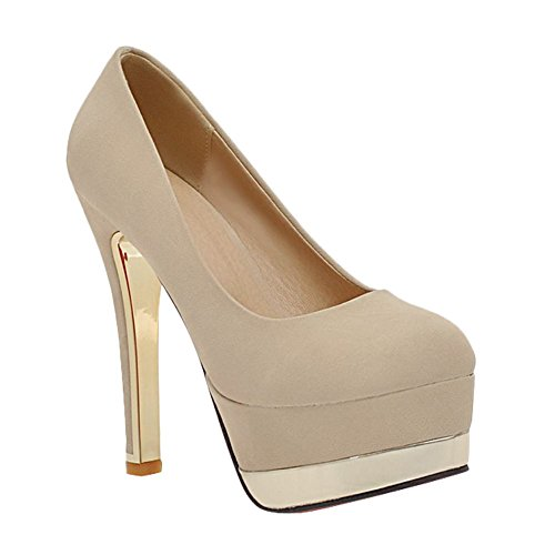 4fecbfb0211c Mee Shoes Damen high heeld Nubuck Plateau Pumps Beige jLf22r9 ...