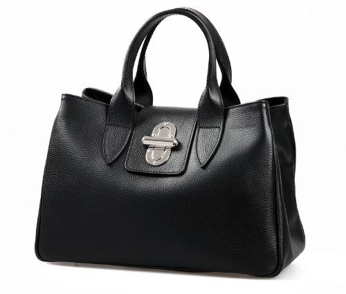 Italienische Henkeltasche Handtasche Damen Tragetasche Taschen Handtaschen Frauen Tasche echt Leder inkl. Trageriemen Farbwahl schwarz, 36,5x24x18 cm (B x H x T)