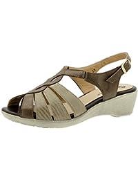 Calzado mujer confort de piel Piesanto 6556 sandalia cuña zapato cómodo ancho