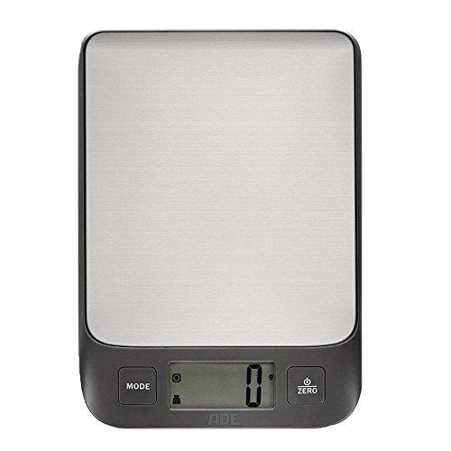 ADE Digitale Küchenwaage KE 1502 Mila mit Edelstahl Wiegefläche (silber - anthrazit)