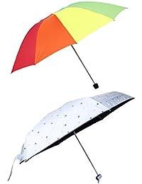 MagiDeal 2 Piezas Paraguas Mini Repelente de Agua Faric Plegable Clásico Creativo
