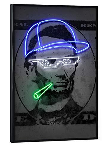 artboxONE Poster mit schwarzem Rahmen 30x20 cm Menschen Lincoln - Bild Lincoln thugleben neonkunst