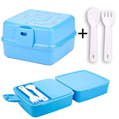 Kaliwaro Brotdose für Kinder | Lunchbox Brotbox Snackbox mit Vier Fächern und Besteck, Mädchen Jungen BPA frei