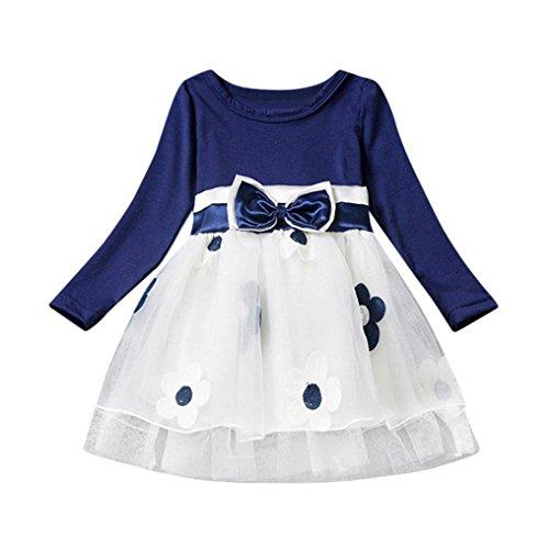 nd Baby Blume Bowknot Falten Tüll Kostüm Tutu Kleid Mädchen Prinzessin Kleid Hochzeit Ballkleid Festkleid Partykleider (90CM 18Monate, Blue) (Nette Kostüme)
