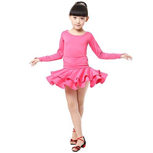 KINDOYO Mädchen Kinder Tanz Kleidung Doppel Saum Langarm Latein Tanzkleid Übung Performances Wettbewerb Kostüm, Stil-3/110