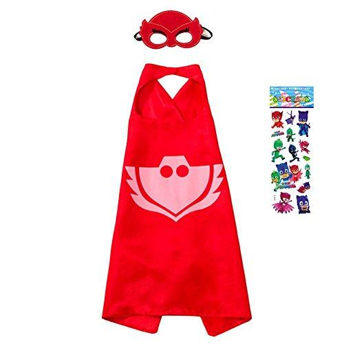PJ Masks Kostüm,1 Capes und Masken für Kinder Superhero Costume Party (Masken Owlette Kostüm Pj)