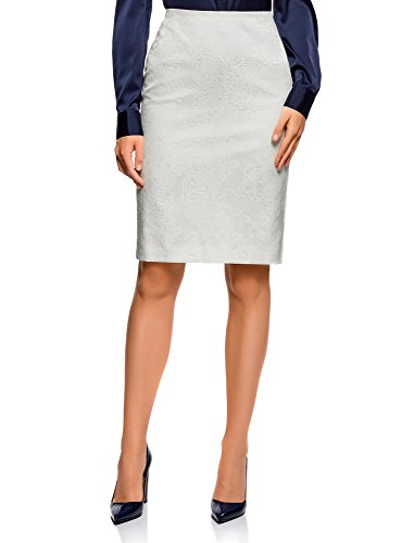 oodji Collection Donna Gonna Jacquard con Cerniera Bianco IT 44 / EU 40 / M