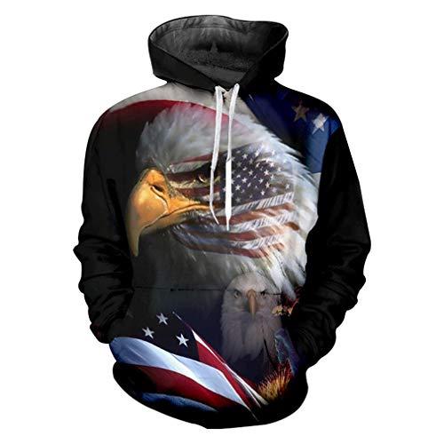 Herbst Winter Casual Hoodies Frauen/Männer Coole Druck Amerikanische Flagge Adler 3D Sweatshirt Hoody Mann Fitness Kordelzug Hoody American Flag Eagle XL Eagle Herren Hoodie