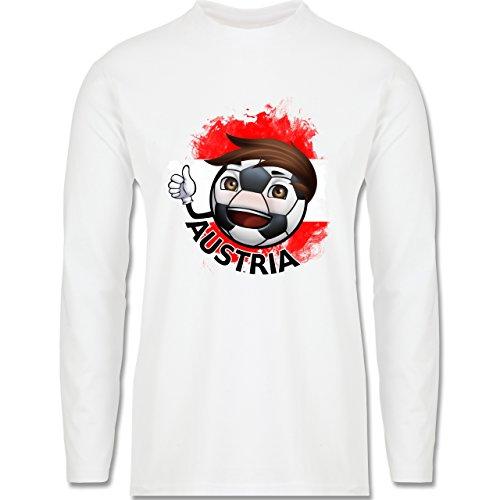 EM 2016 - Frankreich - Fußballjunge Österreich - Longsleeve / langärmeliges T-Shirt für Herren Weiß