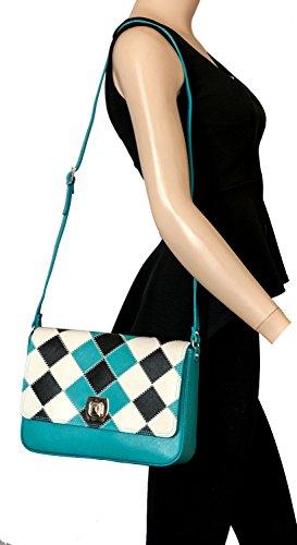 Rapidoshop - Sac A Main Besace Femme Cuir SB5203 Bandoulière Fabrication Italie Bleu
