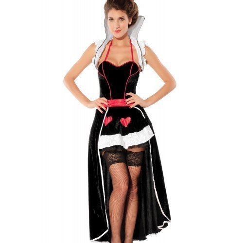 Fancy Me Damen Deluxe Königin der Herzen Alice im Wunderland lang Länge Halloween büchertag Märchen Kostüm Kleid Outfit - Schwarz, 8-10 (Kostüm Königin Herzen Der Deluxe)