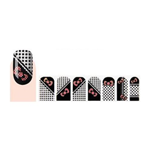 GLAM UP - Stickers Vernis Adhésifs ongles - Pois Noeuds Rose Noir