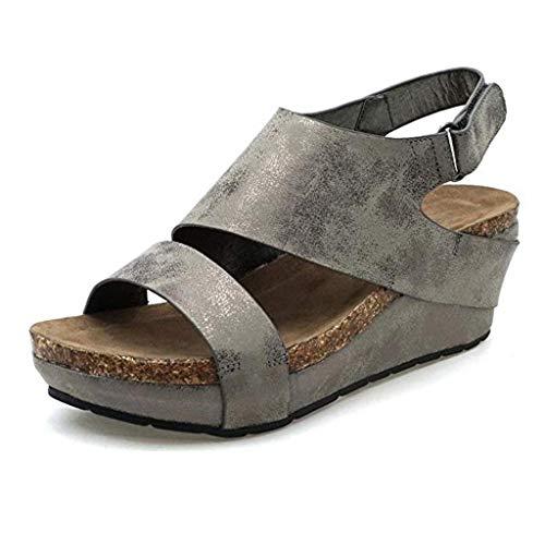 UOWEG Wedges Sandalen für Damen Stilvolle Bequeme Plateau Wedges Open Toe verstellbare Knöchel römischen Sandalen Patent Sling Strap Peep Toe