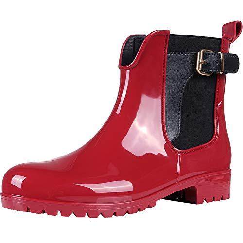 Asgard Damen Gummistiefel Regenstiefel Kurzschaft Stiefel Chelsea Boots, Rot (rot), 41 EU (Rot Regen Frauen Schwarz Für Stiefel)