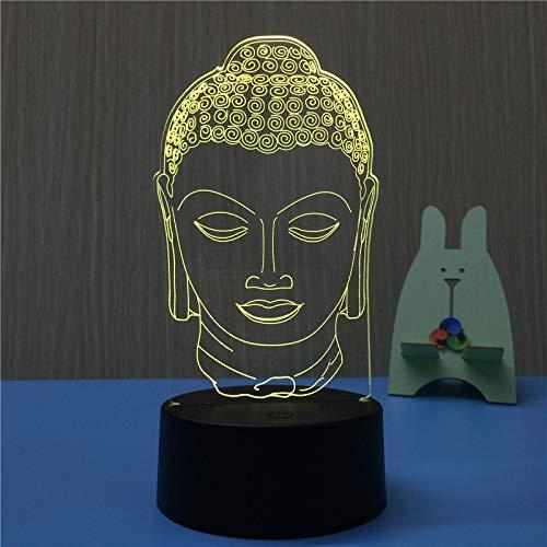 Luce notturna 3D regalo creativo novità pratico logo touch dimming pubblicità regalo tocco leggero luci colorate Testa di Buddha 3