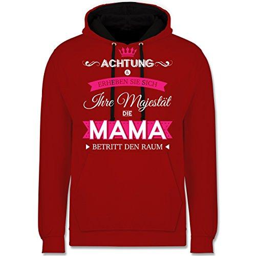 Muttertag - Ihre Majestät die Mama - Kontrast Hoodie Rot/Schwarz