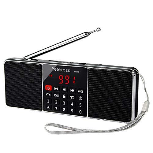 Retekess L-288 Portable AM FM Stereo Radio with Wireless MP3 Player Speaker AUX Input Support TF Card Sleep Timer (Black)