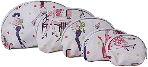 UberLyfe Fashionable Times Multipurpose Pouch or Purse for Women - Beige - Combo of 5 (PU-001025-VIN)