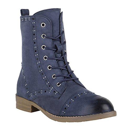 Stivali Paradise Women Stivaletti Stivali Da Lavoro Stivali In Pizzo Scarpe Flandell Strass Blu Scuro Con Strass
