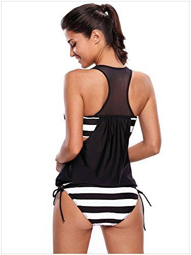 Fortuning's JDS Le Stripe delle Donne si sono allineate in su in su i set top di Tankini costumi da bagno nero Spot