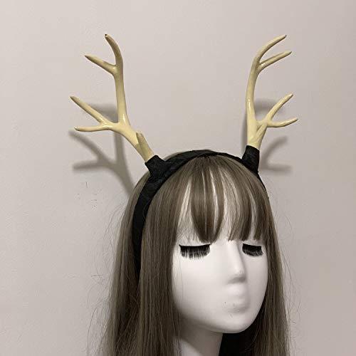 crazy hunter Steampunk Hairband Fasching Zubehör Hörner Haarreif Horn Stirnband Kopf Schmuck03 (weiß)
