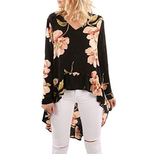 SEWORLD Bluse Damen Muttertag Geschenk Frauen Elegant Blumendruck Chiffon Langarm Shirt Casual Bluse Rüschen Unregelmäßige Saum V-Ausschnitt Tops(Schwarz,M) (Vorne Rüschen Kurzarm-bluse)