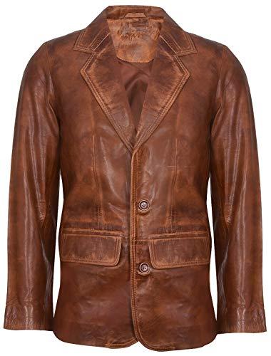 Infinity Leather Hellbrauner Lederjacke für Herren Aus Weichem, Echtem Italienischem Jahrgang Mantel XL -