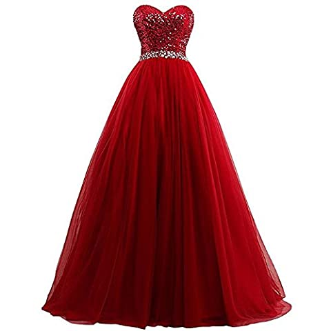 Robes Femmes Mousseline De Soie Mariage Mariage Bridesmaids Fête Anniversaire Banquet Sequins Longue Robe . Red . Us14