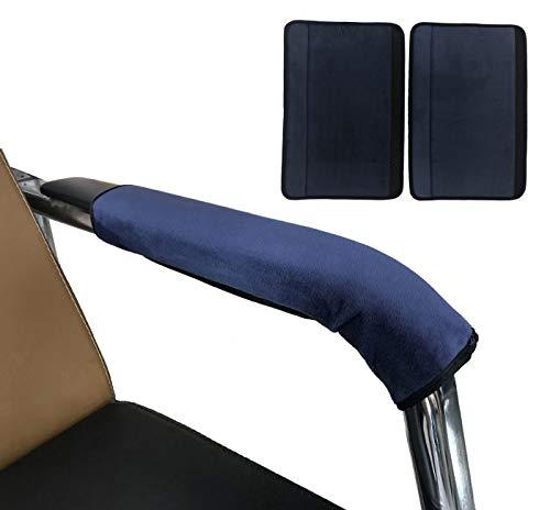 Wommty 2 Stück Blau Farbe Verstellbar Angenehm Weiches Samt Stuhl Armlehne Abdeckungen Protektoren für Zuhause, Büro (Blau) -