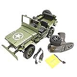 Brucelin Voiture Télécommandée Enfant, 1/10 Scale Q65 C606 2.4G 4WD Convertible Télécommande Lumière Jeep Quatre Roues Motrices Off-Road Escalade Militaire Voiture Jouet Enfant Cadeau