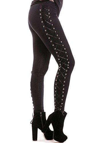 Leggings Largos Ajustados Elásticos Góticos de Vixxsin Punk Atados Up Corset Sexy - Negro (S - ES 38)