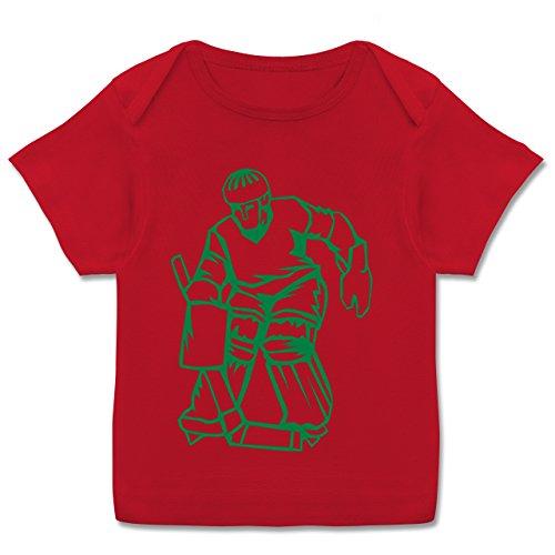 Sport Baby - Eishockey - 68-74 (9 Monate) - Rot - E110B - Kurzarm Baby-Shirt für Jungen und Mädchen in verschiedenen Farben