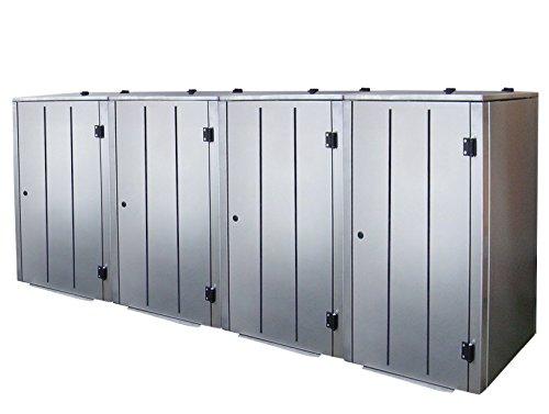 Mülltonnenbox Edelstahl, Modell Eleganza Line5, 120 Liter als Viererbox