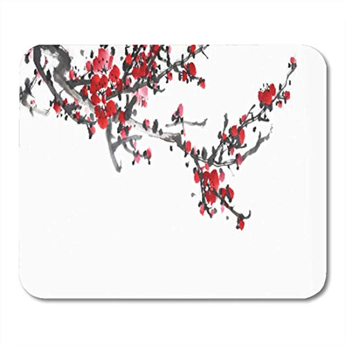 AOCCK Gaming Mauspads, Gaming Mouse Pad Pink Landscape Plum Blossom on Traditional Chinese Painting Red 11.8